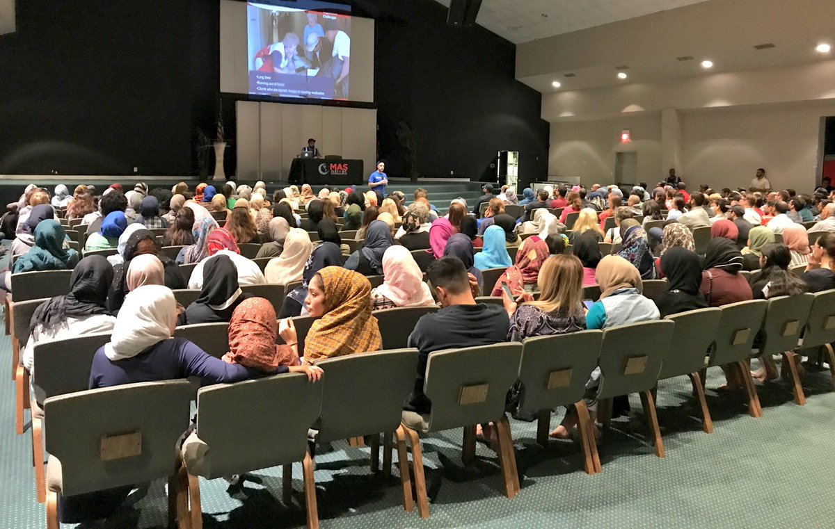 Muslim in a Richardson, Texas masjid get trained on how to assist Texans displaced by Hurricane Harvey. Photo by Sana Syed.